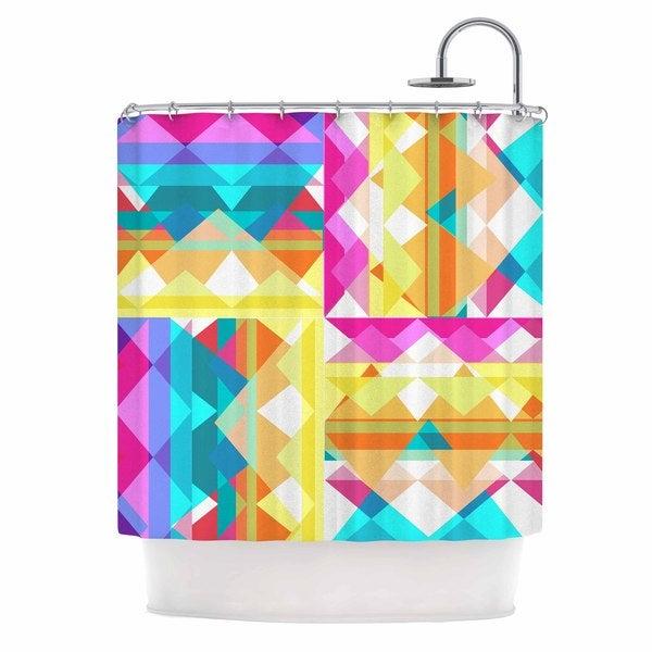 KESS InHouse Miranda Mol Triangle Checker Pastel Rainbow Shower Curtain (69x70)