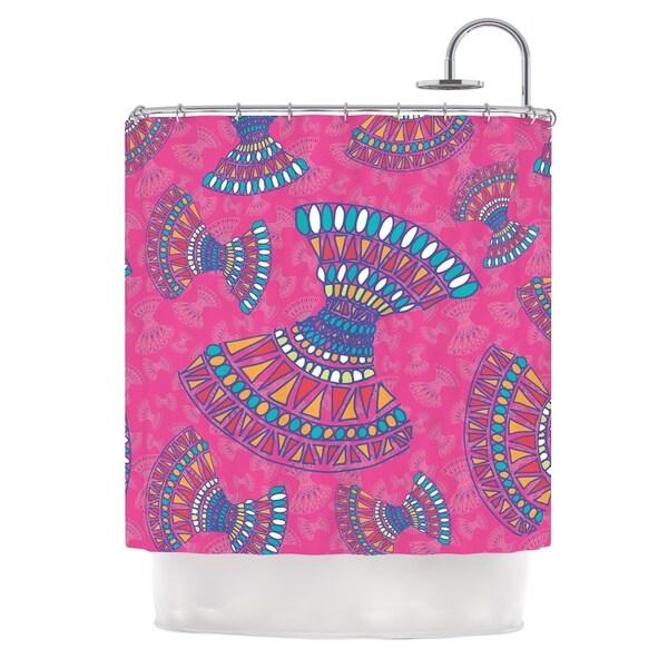 KESS InHouse Miranda Mol Tribal Fun Pink Magenta Abstract Shower Curtain (69x70)