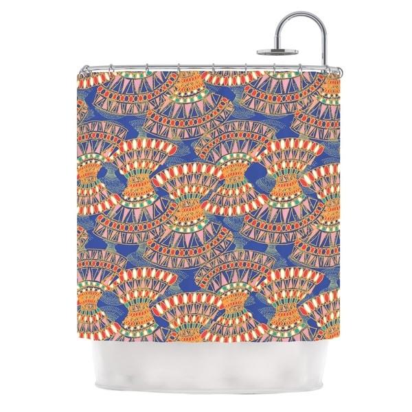 KESS InHouse Miranda Mol Energy Orange Blue Abstract Shower Curtain (69x70)