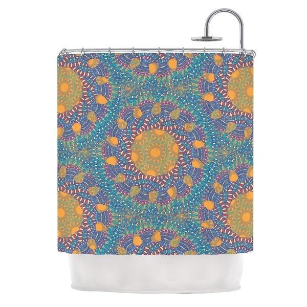 KESS InHouse Miranda Mol Prismatic Orange Orange Blue Abstract Shower Curtain (69x70)