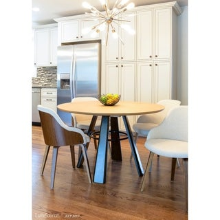 LumiSource Elton Contemporary Wood Round Dining Table