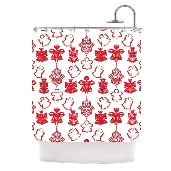 KESS InHouse Miranda Mol Angels Singing White Red Holiday Shower Curtain (69x70)