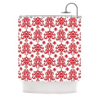 KESS InHouse Miranda Mol Ornate Trees White Red Holiday Shower Curtain (69x70)