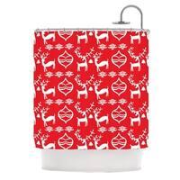 KESS InHouse Miranda Mol Antler Fun Red Holiday Shower Curtain (69x70)