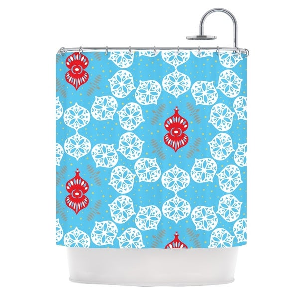 KESS InHouse Miranda Mol Frosted White Blue Holiday Shower Curtain (69x70)