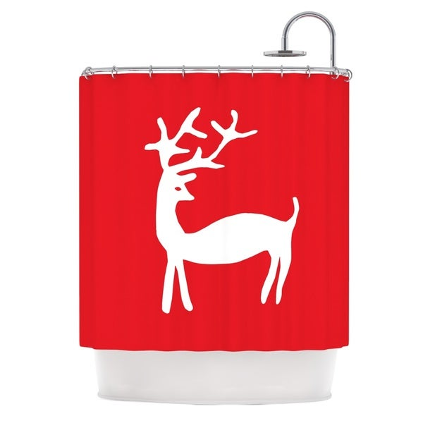 KESS InHouse Miranda Mol Reindeer Red Holiday Shower Curtain (69x70)