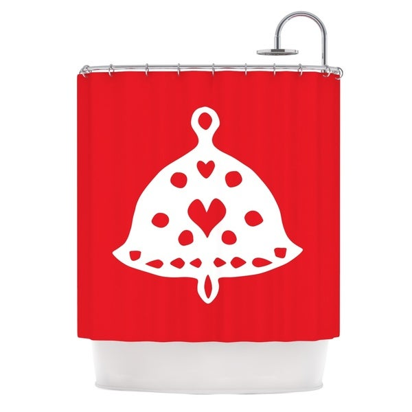 KESS InHouse Miranda Mol Jingle Bell Red Holiday Shower Curtain (69x70)