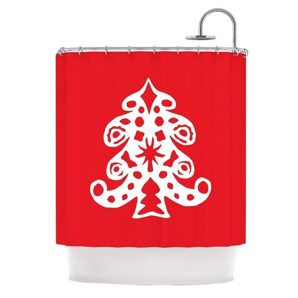 KESS InHouse Miranda Mol Noble Pine Red Holiday Shower Curtain (69x70)
