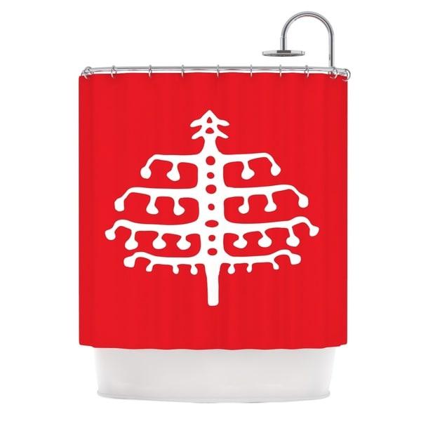 KESS InHouse Miranda Mol Deco Tree Red Holiday Shower Curtain (69x70)