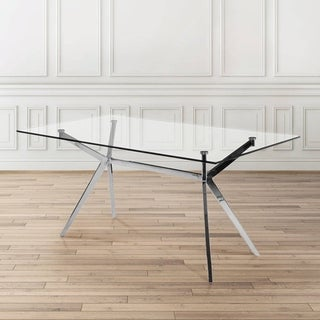 Uptown Club Paris Modern Polished Steel Tempered Glass Rectangular Dining Table