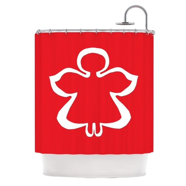 KESS InHouse Miranda Mol Flying Angel Red Holiday Shower Curtain (69x70)