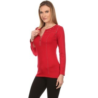 High Secret Women's Fitted Stud Embellished Zip-Up Long Sleeves Round Neck Knit Top