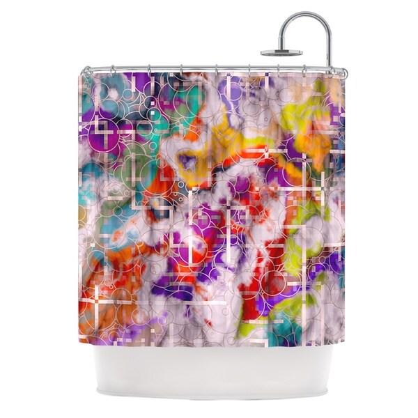 KESS InHouse Michael Sussna Quantum Foam Rainbow Geometric Shower Curtain (69x70)