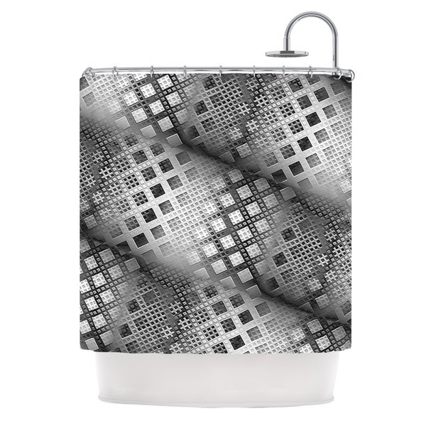 KESS InHouse Michael Sussna Array Decay Checkered Gray Shower Curtain (69x70)
