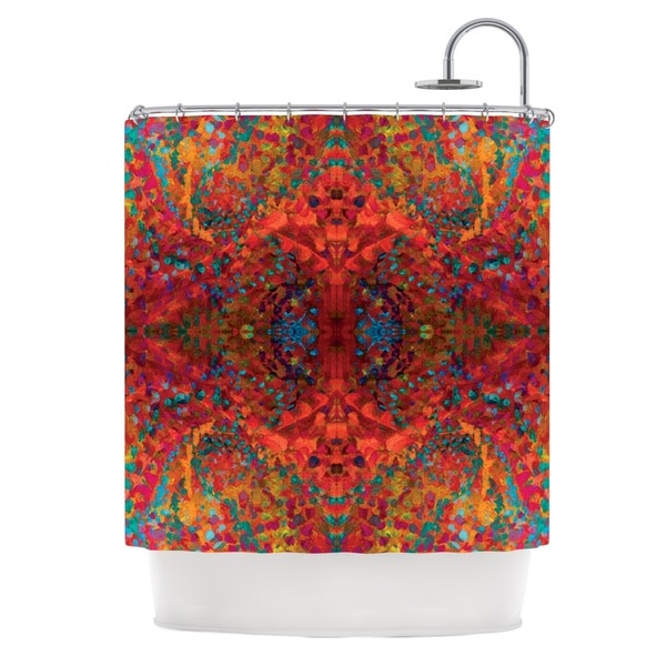 KESS InHouse Nikposium Red Sea Orange Abstract Shower Curtain (69x70)
