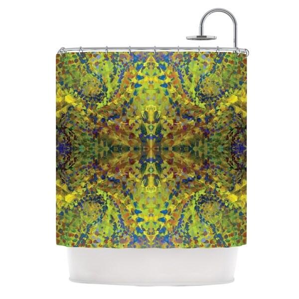 KESS InHouse Nikposium Yellow Jacket Green Abstract Shower Curtain (69x70)