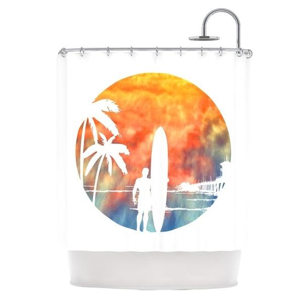 KESS InHouse Micah Sager Waiting Orange White Shower Curtain (69x70)