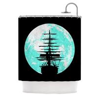 KESS InHouse Micah Sager Voyage Aqua Black Shower Curtain (69x70)