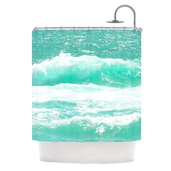 KESS InHouse Monika Strigel Maui Waves Teal Green Shower Curtain (69x70)