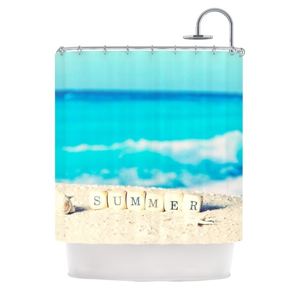 KESS InHouse Monika Strigel Summer at the Beach Blue Coastal Shower Curtain (69x70)