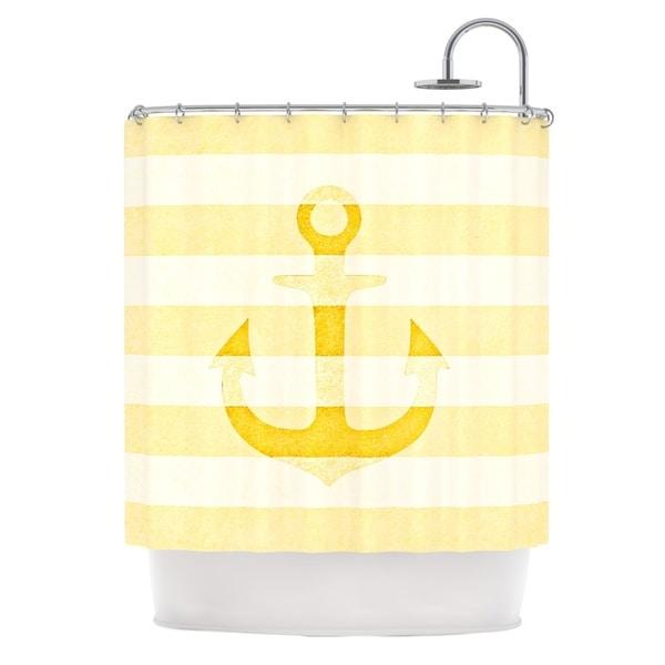 KESS InHouse Monika Strigel Stone Vintage Anchor Yellow Mustard White Shower Curtain (69x70)