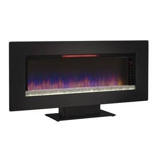 "Felicity 47"" Wall Mounted Infrared Quartz Fireplace, Black Glass Frame"
