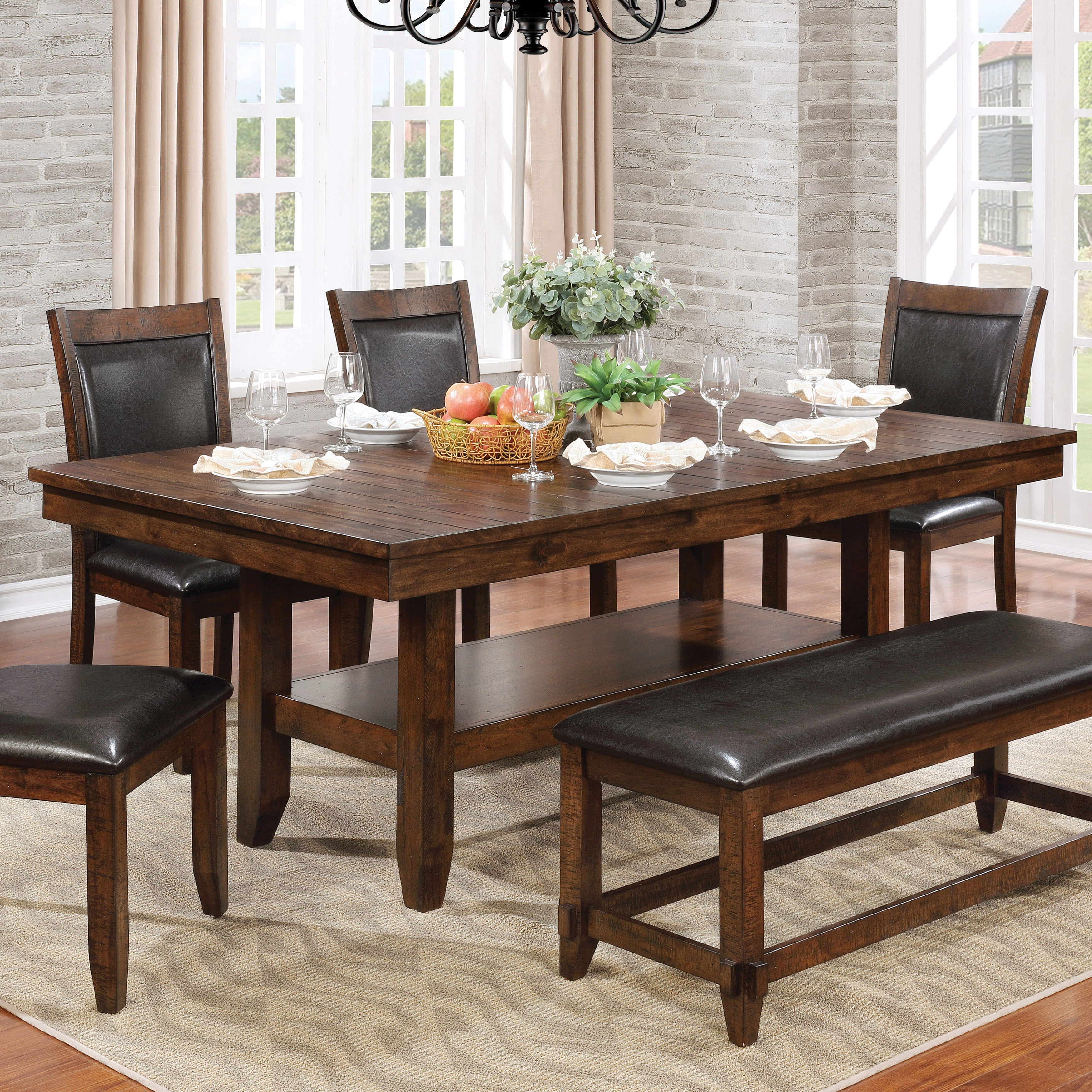 Miraculous Furniture Of America Grover Rustic Plank Style Brown Cherry 78 Inch Dining Table Cherry Brown Caraccident5 Cool Chair Designs And Ideas Caraccident5Info
