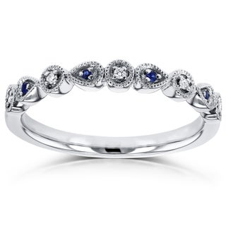 Annello by Kobelli 10k White Gold Diamond and Sapphire Accented Alternating Stones Fashion Ring