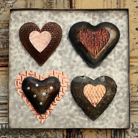 Four-up Industrial Metal Hearts