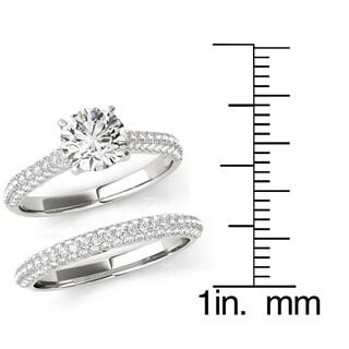 Transcendent Brilliance MultiRow Micropave Diamond Cathedral Bridal Ring Set 18k Gold 1 3/4 TDW