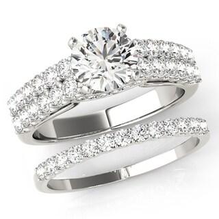 Transcendent Brilliance Scintilation Pave Double Row Diamond Bridal Wedding Set 18k Gold 1 1/2 TDW