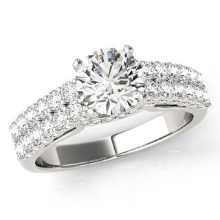 Transcendent Brilliance Double Shank Pave Diamond Engagement Ring 18k Gold 1 1/4 TDW