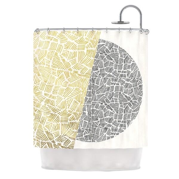 KESS InHouse Pom Graphic Design Inca Day & Night Gold Black Shower Curtain (69x70)