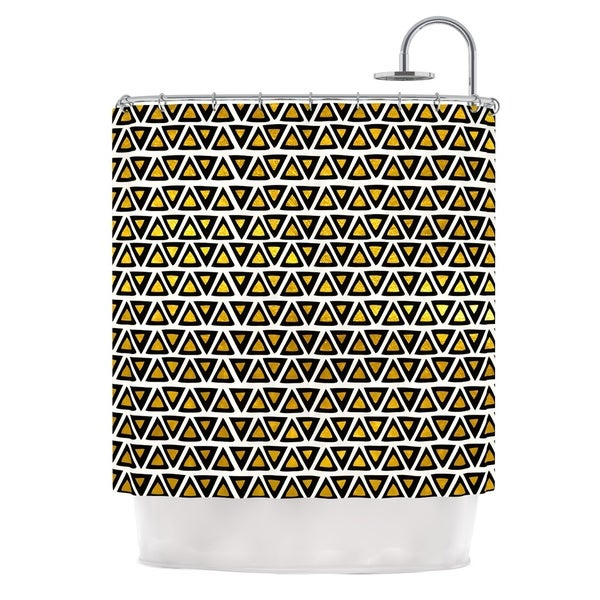 KESS InHouse Pom Graphic Design Aztec Triangles Gold Yellow Black Shower Curtain (69x70)