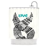 KESS InHouse Pom Graphic Design United Love Black Tribal Shower Curtain (69x70)