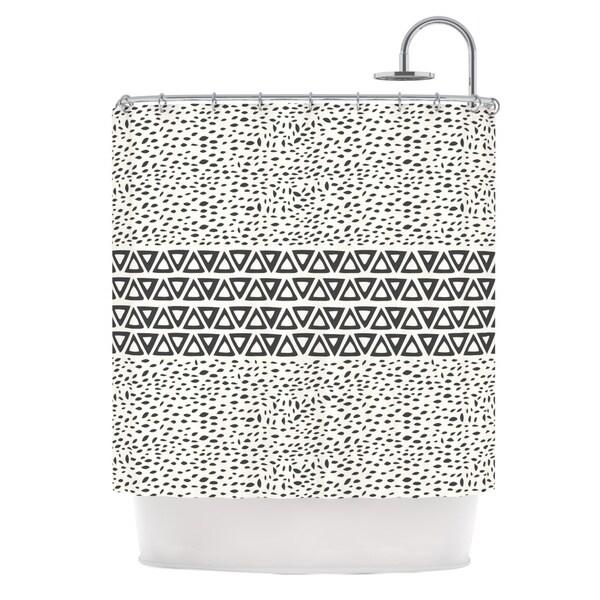 KESS InHouse Pom Graphic Design Wind Day White Black Shower Curtain (69x70)