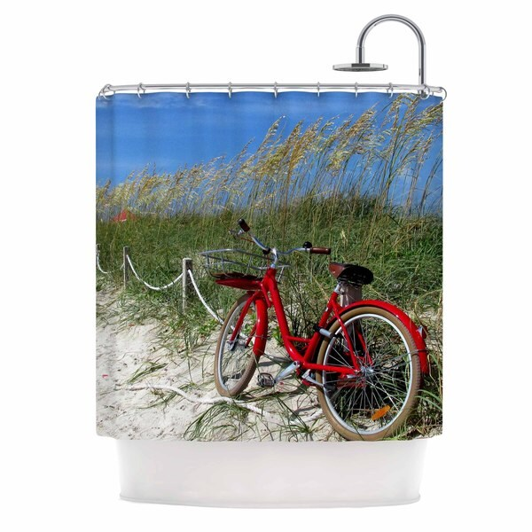 KESS InHouse Philip Brown A Day At The Beach Red Black Shower Curtain (69x70)