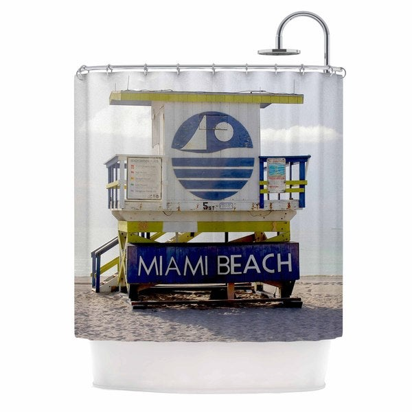 KESS InHouse Philip Brown Miami Beach Lifeguard Stand Blue Multicolor Shower Curtain (69x70)
