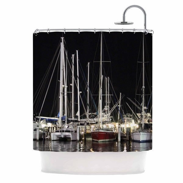 KESS InHouse Philip Brown Dinner Key Marina Black Multicolor Shower Curtain (69x70)