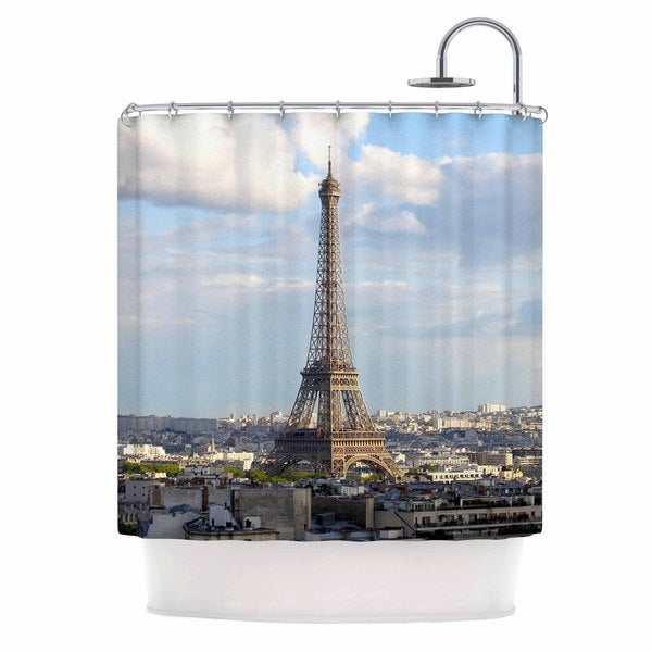 KESS InHouse Philip Brown Eiffel Tower Gold Black Shower Curtain (69x70)