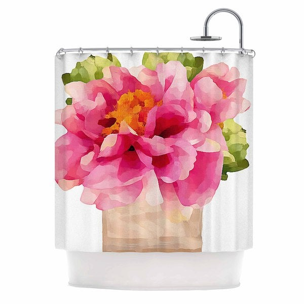 KESS InHouse Oriana Cordero Peonies Pink Green Shower Curtain (69x70)