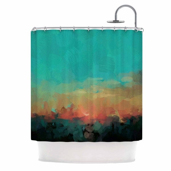 KESS InHouse Oriana Cordero Martinique Orange Teal Shower Curtain (69x70)