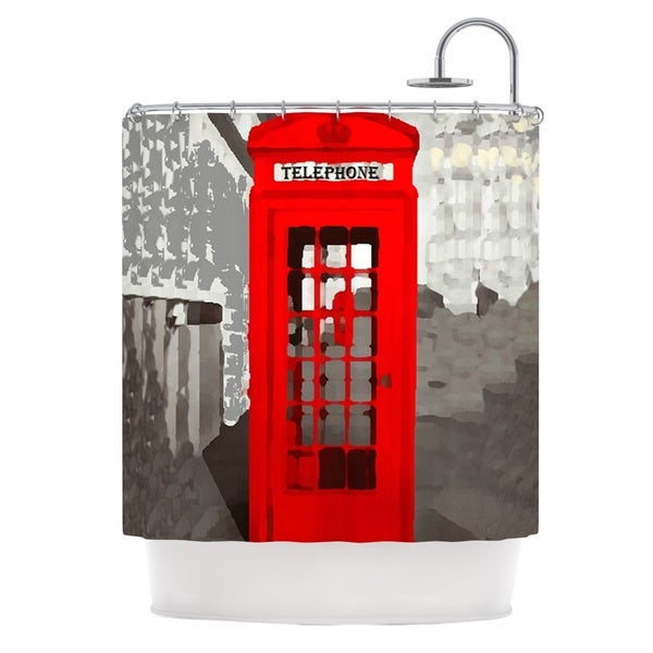KESS InHouse Oriana Cordero London Red Gray Shower Curtain (69x70)
