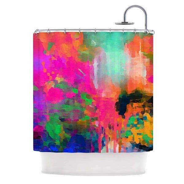 KESS InHouse Oriana Cordero Mondrian & Me Multicolor Squares Shower Curtain (69x70)
