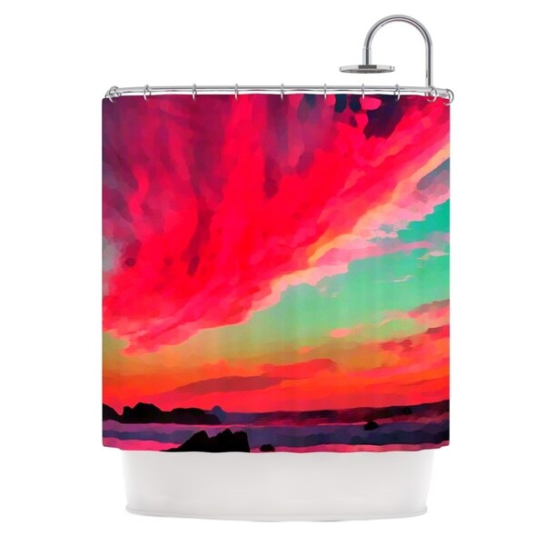 KESS InHouse Oriana Cordero Apetto All'alba Red Teal Shower Curtain (69x70)