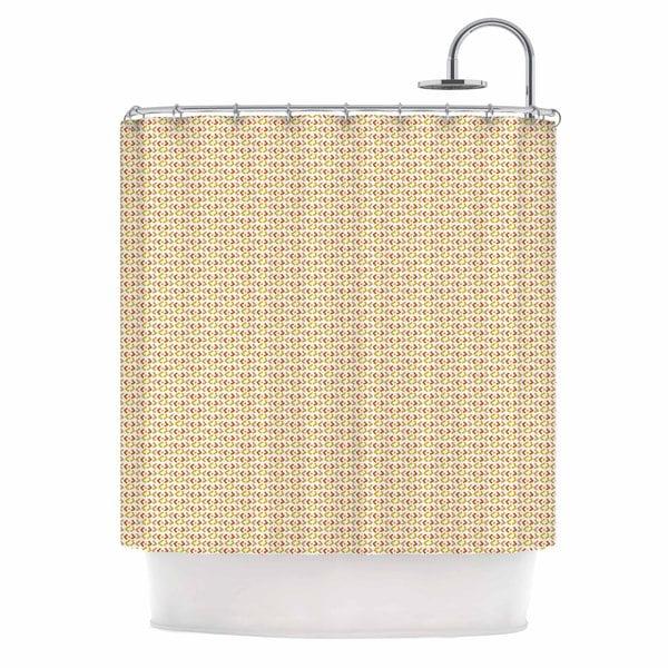 KESS InHouse Petit Griffin Chevron Yellow Pattern Shower Curtain (69x70)