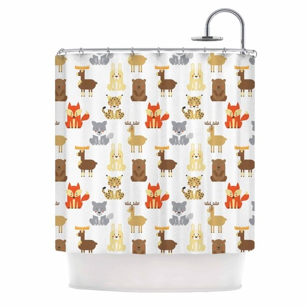 KESS InHouse Petit Griffin Retro Animals Orange Gray Shower Curtain (69x70)