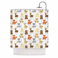KESS InHouse Petit Griffin Retro Animals Orange Gray Shower Curtain (69x70)