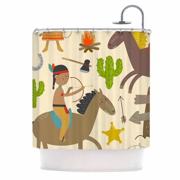 KESS InHouse Petit Griffin Tipi Brown Kids Shower Curtain (69x70)