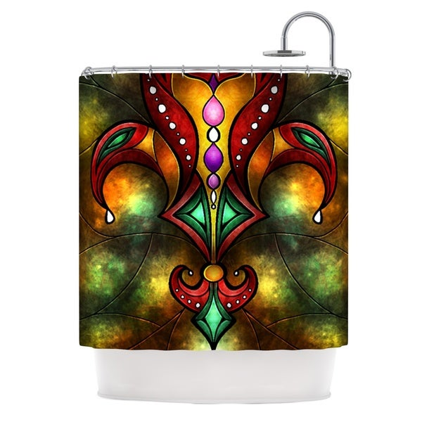 KESS InHouse Mandie Manzano Red Fleur De Lis Warm Shower Curtain (69x70)